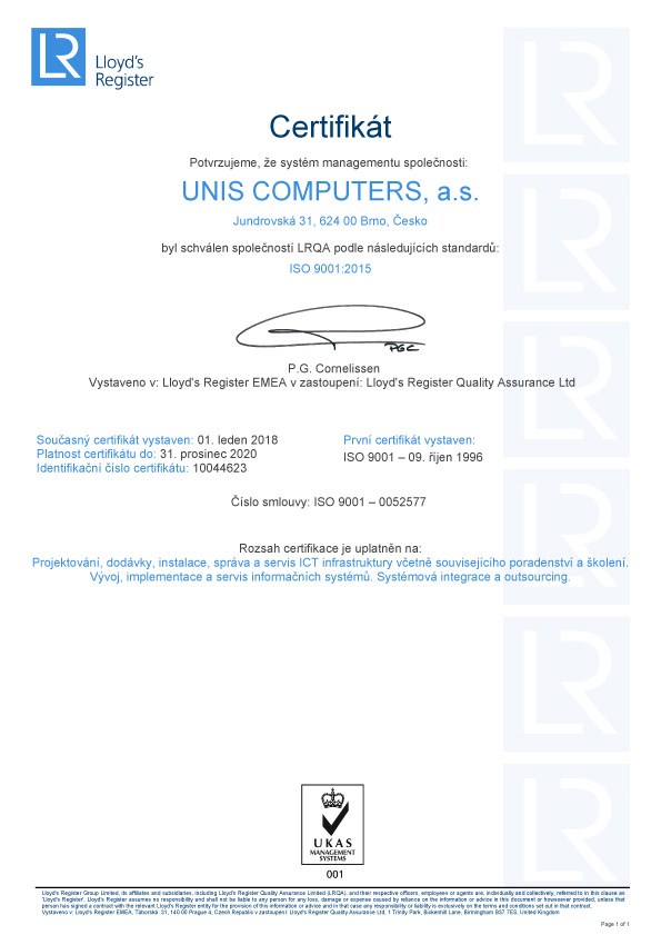 ISO certification | Unis computers